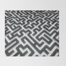 Maze Silver Black Throw Blanket