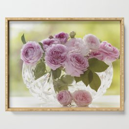 Wonderful English Roses in a crystal bowl - Rose - Flowers Serving Tray