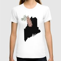 maine T-shirts featuring Maine Silhouette by Ursula Rodgers