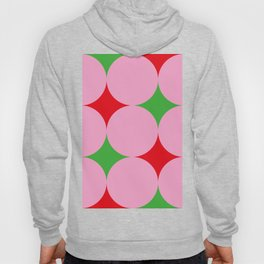 Pink balls hiding a beautiful red and green carpet. Or red and green stars in a pink Space ? Hoody