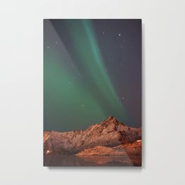 Mountains Landscape: Northern Lights - Aurora Metal Print