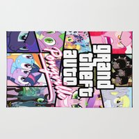 grand theft auto Area & Throw Rugs featuring My little grand theft by eatpersonality