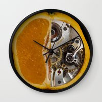 clockwork orange Wall Clocks featuring Clockwork Orange by Cornish Seascapes