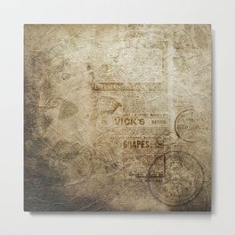 Antique Vintage Worn Decor Paper Metal Print