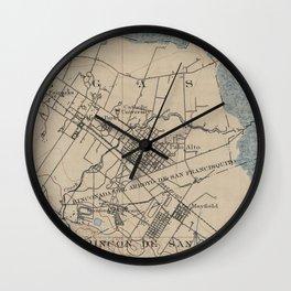 Vintage Map of Palo Alto California (1895) Wall Clock