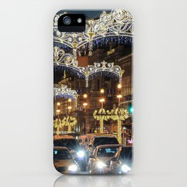 Light decorations on Nevsky Prospect. iPhone Case