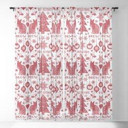 Merry Catmas Scandinavian Folk Art Sheer Curtain