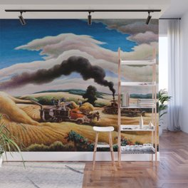 American Classical Masterpiece Threshing Wheat by Thomas Hart Benton Wall Mural
