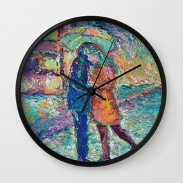 Lovers in Rainy London - romantic city landscape for Valentines day by Adriana Dziuba Wall Clock