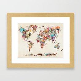 world map watercolor deux Gerahmter Kunstdruck