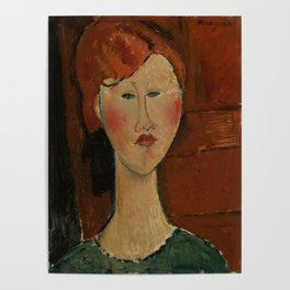 """Amedeo Modigliani """"Femme aux cheveux rouge (Woman with Red Hair)"""" Poster"""