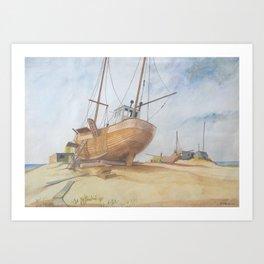 Boats on Dungeness Beach Kent England Art Print