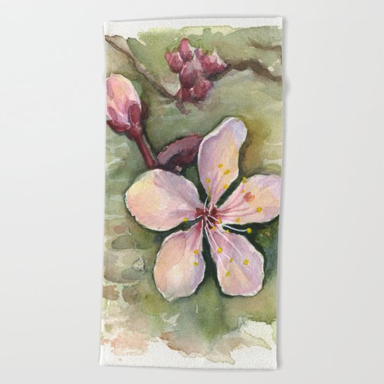 Cherry Blossom Watercolor Painting | Spring Flowers Beach Towel