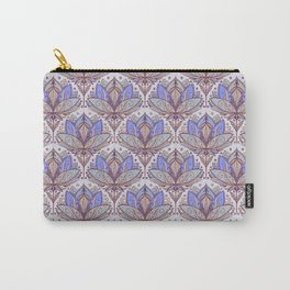 Art Deco Lotus Rising 2 - sage grey & purple pattern Carry-All Pouch