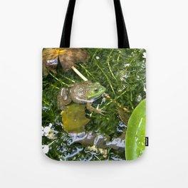 Frog in pond Tote Bag