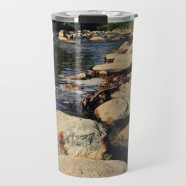 Rock path in the midlle of the river Travel Mug