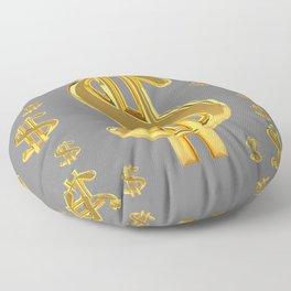 GOLDEN MONEY DOLLARS & CHARCOAL GREY  PATTERN MODERN ART Floor Pillow