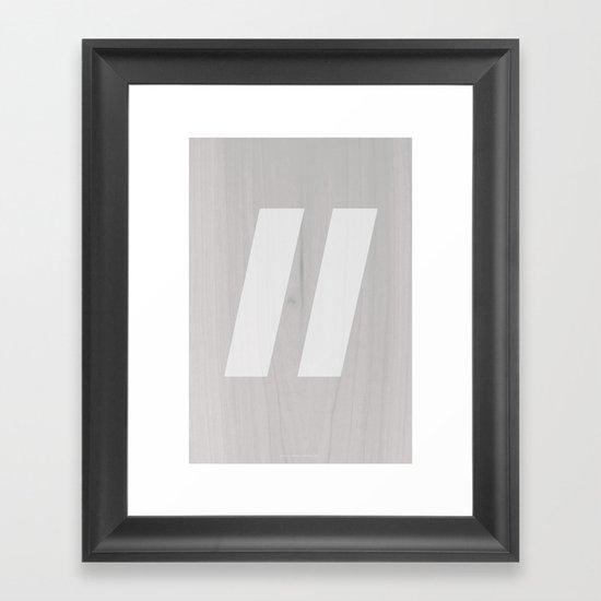 Slash White Framed Art Print