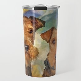 Airedale Terriers Portrait Mixed Media Travel Mug