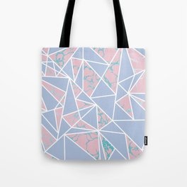 Geometric pastel blue coral abstract triangles marble Tote Bag