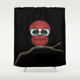 Baby Owl with Glasses and Latvian Flag Shower Curtain