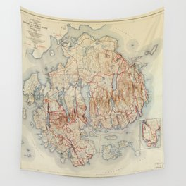 Map of Acadia National Park, Maine (1942) Wall Tapestry