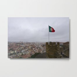 Flag Above Lisbon Metal Print