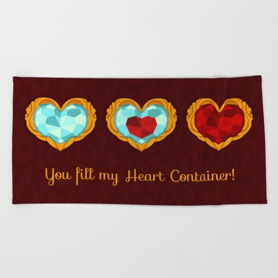 HEART CONTAINER Beach Towel