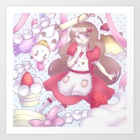 puppycat Art Prints featuring Bee & puppycat ver 2 by Kurodoj