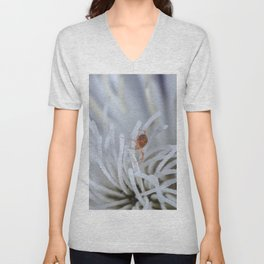 Clover Mite on a clematis Unisex V-Neck
