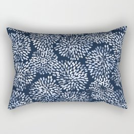 Abstract Navy Watercolor Line Flowers Rectangular Pillow