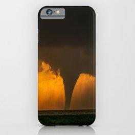 Silhouette - Large Tornado at Sunset in Kansas iPhone Case