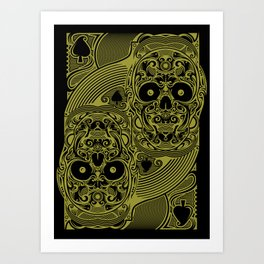 Ace of Spades Gold Skull Playing Card Art Print