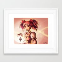 madoka magica Framed Art Prints featuring Madoka by Schewy