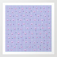 Gingham flowers Art Print