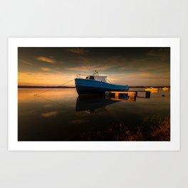 Loughor estuary boats Wales Art Print