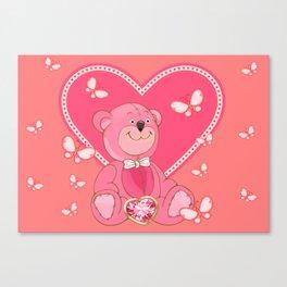 Teddy Bear and Butterflies Canvas Print