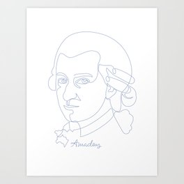 Wolfgang Amadeus Mozart Oneline Blue Art Print