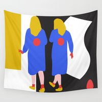girls Wall Tapestries featuring Girls by Dai Ruiz