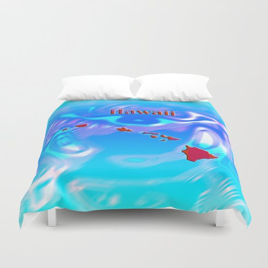 Hawaii Map Duvet Cover