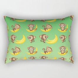 Monkeys with big banana Rectangular Pillow