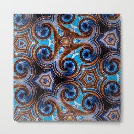 Swirly Blue Metal Print