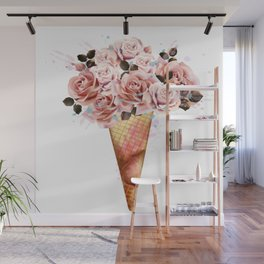 Fashion illustration, print for T-shirt with ice cream from rose flowers Wall Mural