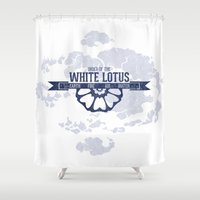 airbender Shower Curtains featuring Order of the White Lotus World Map by TerraBlack