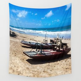 Raft by the sea Wall Tapestry