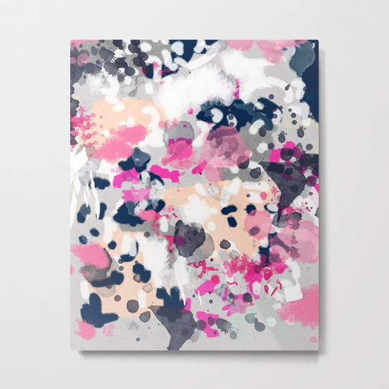 Nico - Abstract painting in modern fresh colors navy, mint, pink, cream, white, and gold Metal Print
