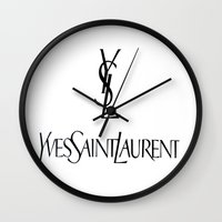 ysl Wall Clocks featuring Black & White Logo by Luxe Glam Decor