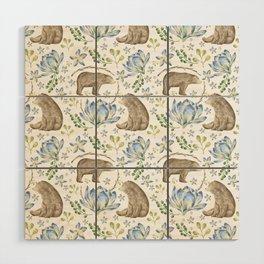 Bears in Blue Flowers Wood Wall Art