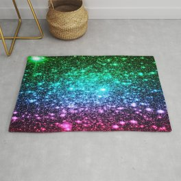 glitter Cool Tone Ombre (green blue purple pink) Rug