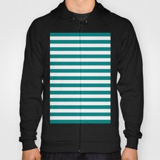 Horizontal Stripes (Teal/White) Hoody